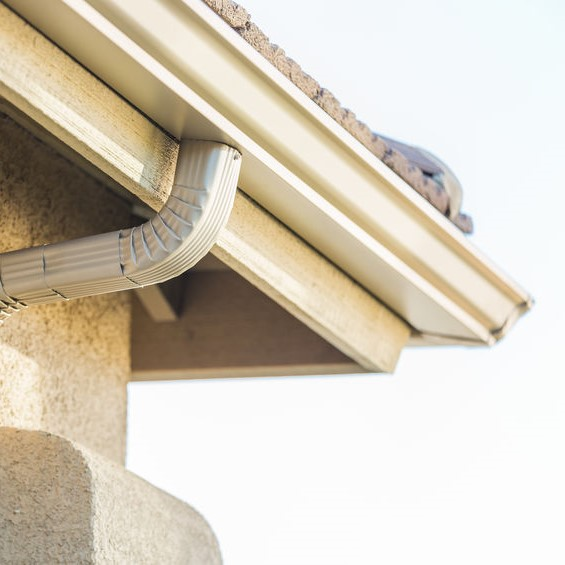 gutter system on a stucco house
