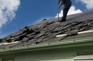 Roofer Completing a Roof Tear Off
